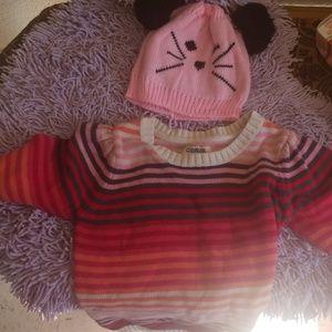 Oshkosh girls 7 sweater with cute hat